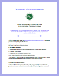Auditioning Guidelines for the Northern Virginia Chorale in PDF format for download.