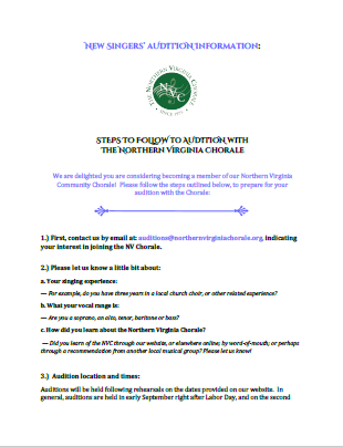 Download the PDF file with steps to Audition with the NV Chorale