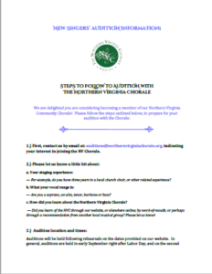 Auditioning with the Northern Virginia Chorale PDF file