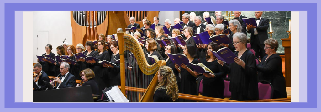 The Northern Virginia Chorale performs 'We Remember Them' fall of 2017 with harpist at center of photo.