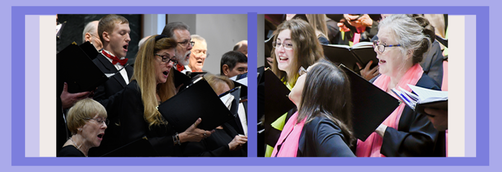 Northern Virginia Chorale singers performing at 'We Remember Them' and 'Joyful Spring Delights' concerts.