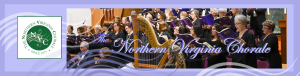 The Northern Virginia Chorale image header showing performance at St. Mark's Lutheran Church and conductor, Robert Webb, Jr with purple border and graphic embellishments..