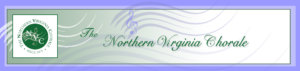 The Northern Virginia Chorale wavy green music bar logo and title header.